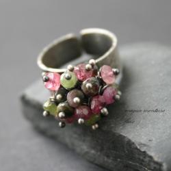 srebro,zielony,srebrny,różowy,pierścionek,fado - Pierścionki - Biżuteria
