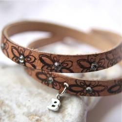 bransoletka,skóra,literka - Bransoletki - Biżuteria