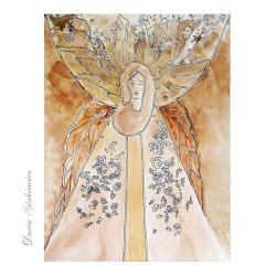anioł,skrzyła,grafika,obraz,ozdoba,kwiaty, - Ilustracje, rysunki, fotografia - Wyposażenie wnętrz