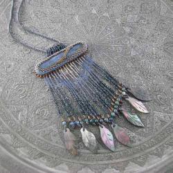 kianit,haft koralikowy,frędzle,koraliki - Wisiory - Biżuteria
