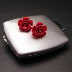 sztyfty,róże,czerwone,delikatne,pąki,eleganckie - Kolczyki - Biżuteria