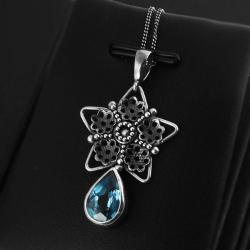 śnieżka,gwiazda,gwiazdka,swiss blue,topaz,srebro - Naszyjniki - Biżuteria