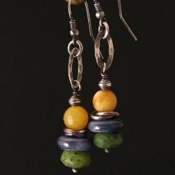 kolczyki,kolorowe,oksydowane,opal,kyanit,nefryt - Kolczyki - Biżuteria