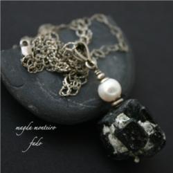 srebro,naszyjnik,czarny,perła,oksydowane,fado,tura - Naszyjniki - Biżuteria