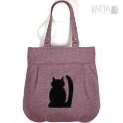kocia torba,pojemna,pakowa i wygodna,czarny kot - Na ramię - Torebki