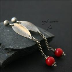srebro,kolczyki,koral,czerwone,fado - Kolczyki - Biżuteria