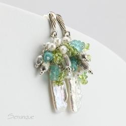 biel,błękit,perłowe kolczyki,perły,wiosenne,wiosna - Kolczyki - Biżuteria